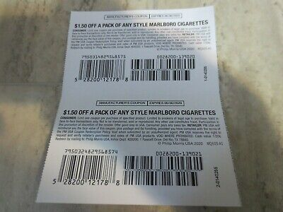 (2x) 1.50 Off A Pack Marlboro Coupons- Any Style- Expire 6/30/20 $3.00 Value