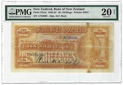 NEW ZEALAND 10 Shillings 1926, S232a First Date Bank of NZ, Very Rare, PMG 20 VF