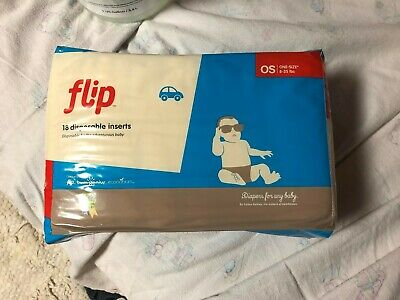 Flip One Size 8-35 Lbs 18 Disposable Cloth Diapers Inserts Baby Toddler