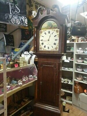 Geo Stacey worksop hand painted grandfather clock weight driven dated 1840s