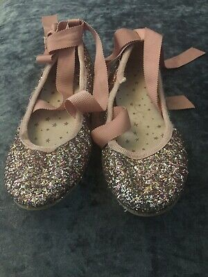 Girls Next Pink Glitter Ballet Shoes With Ribbon - Size Kids 12