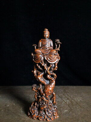 Decoration Handwork Boxwood Carving Bodhisattva Sitting Tree Exquisite Statue