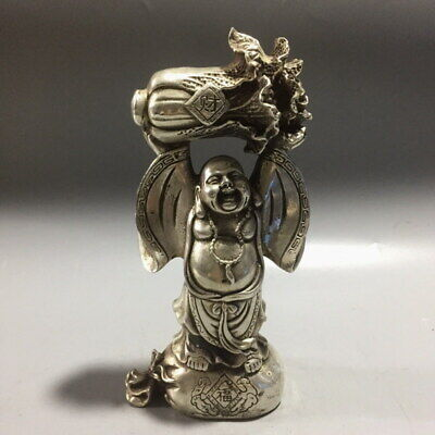 China Decor Exquisite Miao Silver Carving Buddha Holds Cabbage Auspicious Statue
