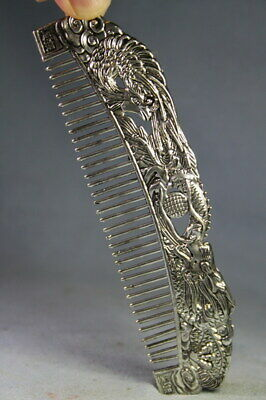 Handwork Auspicious Decor Collectable Miao Silver Carving Dragon Exquisite Comb