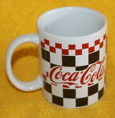 Coca-Cola Mug Black, White, Red Checkered Coffee Cup - 1997 Gibson