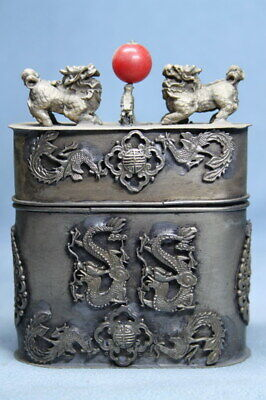 Collectable Miao Silver Carving Two Lions & Dragon Auspicious Rare Toothpick Box