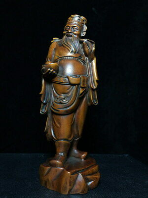 Collectable Boxwood Carving God Of Wealth Gold In His Hand Auspicious Statue