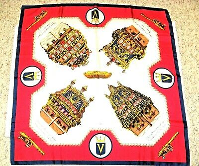 "VINTAGE INCRES VICTORIA LINE SHIPS SILK SCARF 1958-75 Large Size 34 1/2"" x 34"""