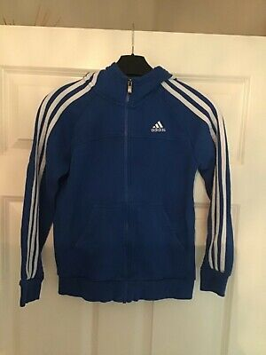 Adidas blue hooded sweatshirt with zipped front size 9-10 years old