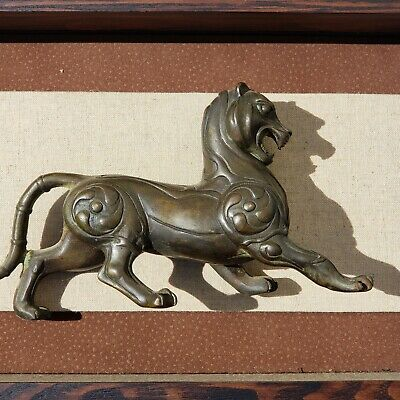 "2 Antique Japanese Chinese Bronze Lions Pair in Shadow Boxes 8.5"" long"