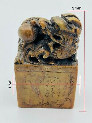 Antique Rare Chinese Soapstone Dragon Carved Shoushan Stone Seal