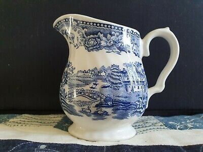 Blue And White Milk Jug - Made in England