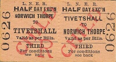 Railway ticket LNER Tivetshall to Norwich Thorpe third class return undated