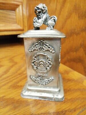 Signed Chinese Silver Foo Dog Snuff Or Tobacco Stash Box