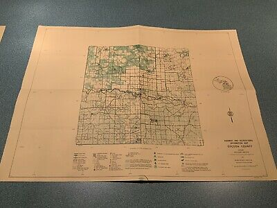 Vintage 1974 Oscoda County Michigan - DNR Highway & Recreation Information Map