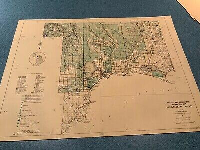 Vtg. 1974 Schoolcraft County Michigan DNR Highway & Recreation Information Map