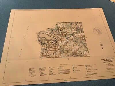 Vintage 1974 Benzie County Michigan DNR Highway Recreation Information Map