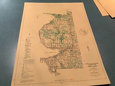 Vintage: 1974 Emmet County Michigan DNR Highway & Recreation Information Map