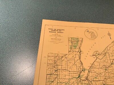 Vintage: 1974 Baraga County Michigan DNR Highway & Recreation Information Map