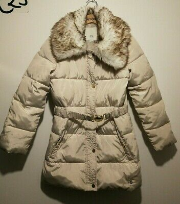 Great Condition Girls Age 9-10 Cream Faux Fur Belted Winter Coat- River Island