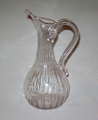 Old Antique Vtg C 1800s Hand Blown Glass Pitcher Applied Handle Pontiled 25 Ribs