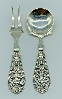 Kristian Hestenes Norway 830 Sterling Silver Serving Set (2 Pieces Floral) 5 In.