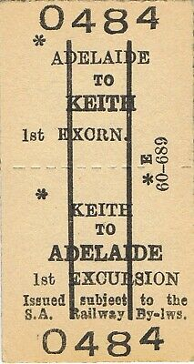 Railway ticket SAR Adelaide to Keith first class excursion return