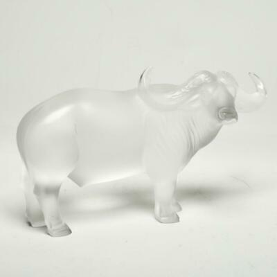 "Signed Lalique France ""Nam"" Large Frosted Water Buffalo Figurine, Wow!"