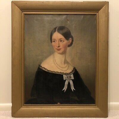 c 1849 Mid-19th Century Antique Portrait Oil Painting of Woman Lady Framed a