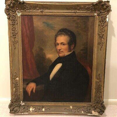 Large 19th Century American Antique Portrait Oil Painting of Gentleman Man e