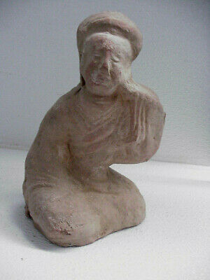 Ancient Han Dynasty Antique Chinese Pottery Seated Servant Figure 1st Century AD