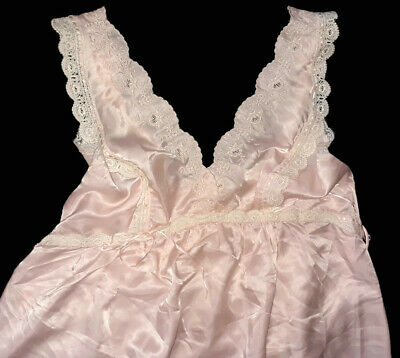 Vintage Christian Dior Lingerie Nightgown Pink Lace Long
