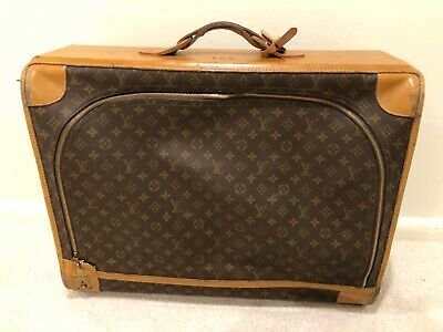 Vintage Genuine Louis Vuitton Monogram Pattern Leather Suitcase d