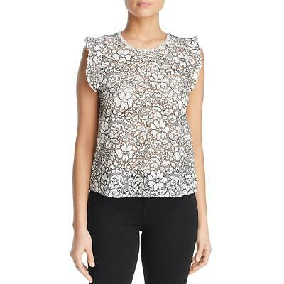 Three Dots Womens Ivory Floral Lace Ruffle Sleeve Blouse Top XL BHFO 6967