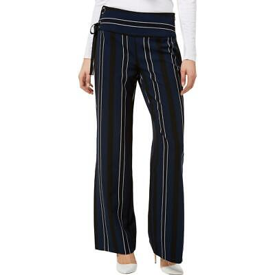 INC Womens Navy Lace-Up Wide Leg Split Dress Pants 4 BHFO 0942