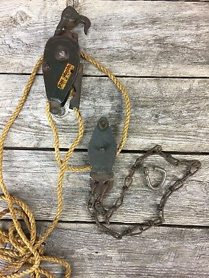 Vintage FARM MASTER Barn Block &Tackle Double Pulley System & Rope Original