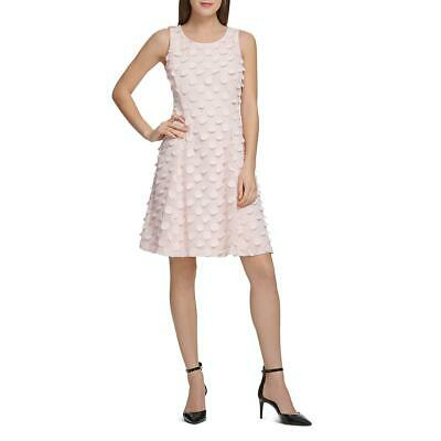 Donna Karan Womens Pink Polka Dot Fit & Flare Party Cocktail Dress 4 BHFO 6771