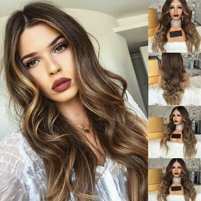 Ladies Stylish Long Wavy Wigs Brown Mixed Full Curly Hair Natural Cosplay Wig