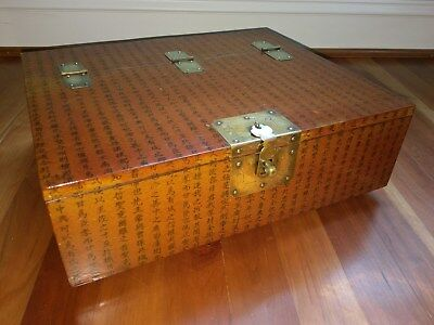 Chinese Wooden Document Scroll Box Character Symbol Brass Hinge Lock vtg Antique