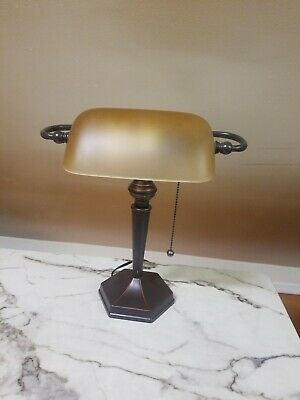 Lite Source 14.5-In Adjustable Bronze Bankers Desk Lamp With Glass Shade Ls-2