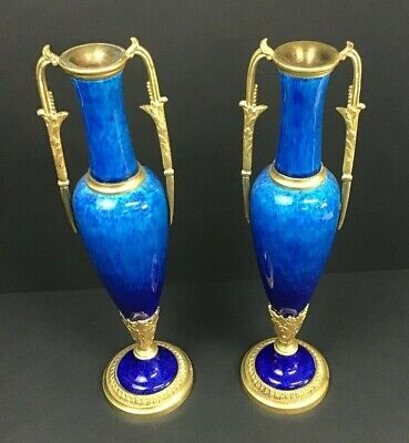 Pair Of Porcelain Paul Milet Sevres France Art Nouveau Blue Flambe Candlesticks