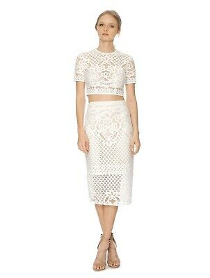 LOVER Libra White Crop Top And Midi Skirt Size 6