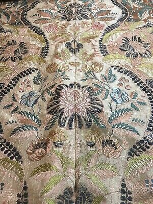 """Vintage Antique Tapestry Damask Peach Wall hanging Table top c 1900 62"""""""