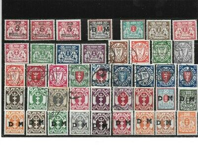 German Danzig Stamps Collection 42 different stamps both Fine Used and Mint. Val