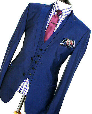 Mens Ted Baker London Endurance London Royal Blue 3 Piece Suit 44R W38 X L32