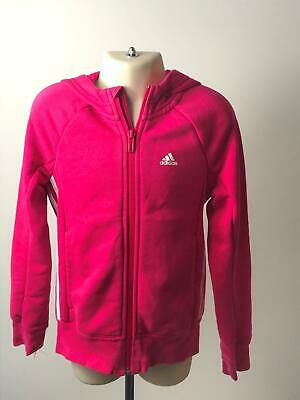 Girls Adidas Pink & White Zip Up Hooded Tracksuit Top Jacket Kids Age 7-8 Years