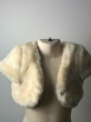 Girls Bhs Cream Faux Fur Diamante Button Cape Coat Jacket Kids Age 2-3 Years
