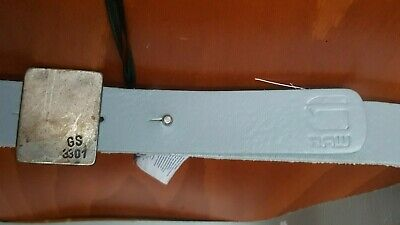 G - Star Belt Grey Leather Unisex Size L RAW