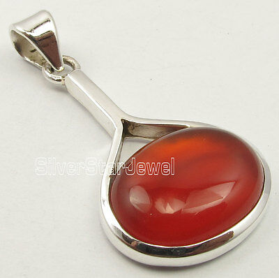 "925 Sterling Silver Exclusive RED CARNELIAN ARTISAN Pendant 1.4"" GIRLS' GIFT"