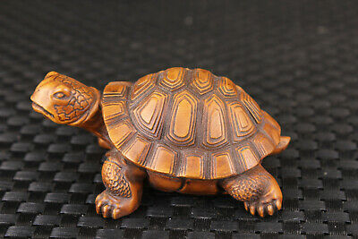 chinese old boxwood hand carved tortoise figure statue netsuke table decoration